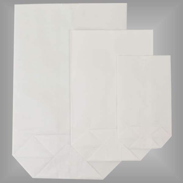 Kreuzbodenbeutel aus Papier weiß