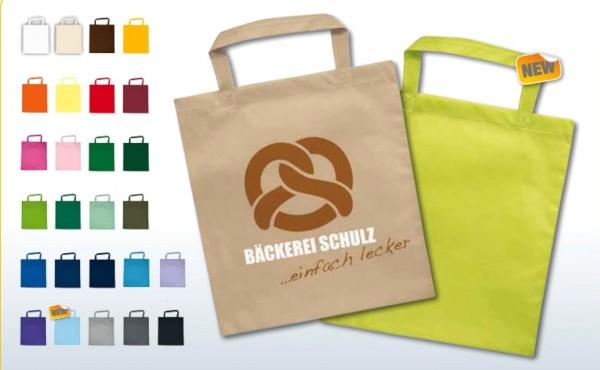 Textiltragetaschen 38 x 42 cm kurze Henkel 1-seitig 1-farbig