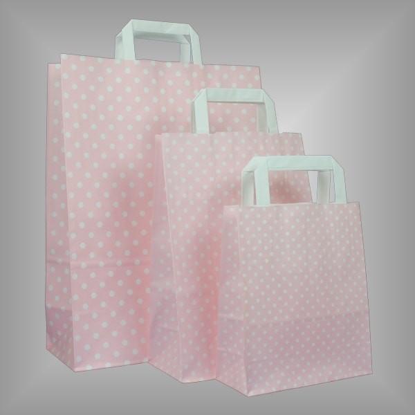 Papiertüten rosa mit weißen Punkten
